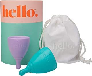 THE HELLO CUP 超小号/中号*杯双盒 - FDA 注册,不含双酚 A,可重复使用,低致敏性,可回收,*级 TPE,无硅/橡胶/乳胶--XS 淡紫色和 SM 蓝色,1 只装
