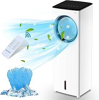 蒸发空气冷却器,便携式空调风扇个人无叶塔风扇/遥控 AC 风扇冷却和加湿,3 种风速,3 种模式,40° 振动,4-8H 定时器空气冷却器