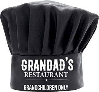 男士厨师帽趣味黑色,Grandad's Restaurant 烹饪帽,可调节厨房厨师帽,适合爸爸生日父亲节圣诞节礼物