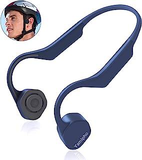 迷你骨传导耳机,Yamipho 蓝牙 5.0 开放式耳无线运动耳机,0.8 盎司(约 24.9 克)轻质钛合金,带麦克风,适用于慢跑、跑步、驾驶、骑行、健身瑜伽,蓝色