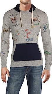 Ralph Lauren 拉夫劳伦 Polo 棉针织图案长袖连帽 T 恤连帽衫,浅灰色