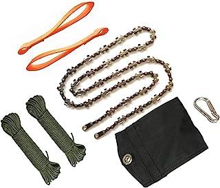 48 英寸 62 齿高伸程树四肢手绳链锯户外口袋园艺电锯适用于露营、狩猎、树枝切割、徒步旅行、背包(48 英寸 62 齿)