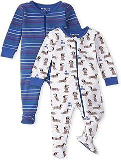 The Children's Place 婴儿和幼儿男孩小狗舒适棉质连体睡衣 2 件装