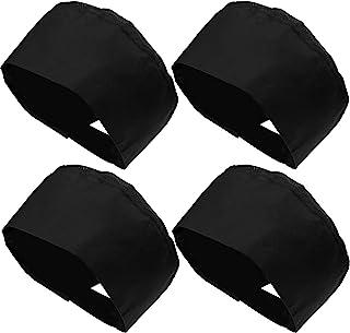 中性款厨师帽可调节厨房烹饪帽,带透气网眼顶部,黑色