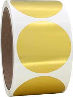 卷上的 5.08 cm 金属金色圆形颜色编码圆点标签,250 张贴纸,直径 5.08 cm。