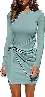 Angelwilla 女式长袖连衣裙圆领紧身束腰 T 恤连衣裙休闲褶饰连衣裙