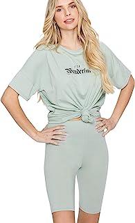 Sweatsuit 2 件套圆领短袖上衣和高腰短裤休闲套装女式运动服服装套装