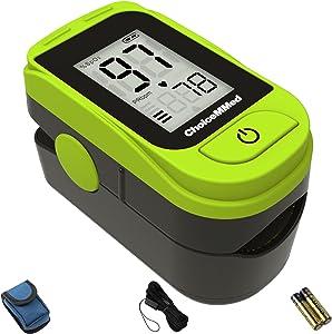 选择浅*手指脉搏血氧仪 - 血氧饱和度监测仪 - SPO2 脉搏血氧仪 - 便携式氧传感器内含电池 - O2 饱和度监测携带袋