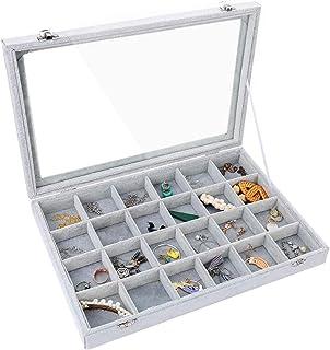 Pimuza 24 网格珠宝托盘收纳盒收纳架,适用于戒指、手表、耳钉、饰品、玻璃透明盖天鹅绒平常隔层,适用于咖啡桌装饰,小女孩卧室,家居装饰,灰色