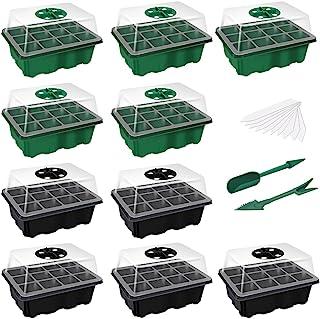 Laicky 10 件装种子起动托盘 种子托盘(每托盘 12 个)湿度可调节植物起动套件,带圆顶和基地温室生长托盘,适用于种子生长起发芽盒