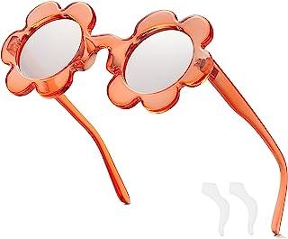 幼儿花朵太阳镜圆形完美色调 适合女婴 UV400 防护时尚派对礼品太阳眼镜