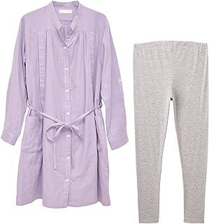 Avix Mammy Luna 哺乳口孕妇睡衣(长袖) M-L 紫色 双层纱布·平滑 387533