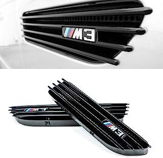 光滑黑色侧挡泥板格栅适用于宝马 M3 E46 2001-2006 排气替换格栅与敞篷车兼容 - 直接 OEM 替换件包括左右和右边带标志贴纸