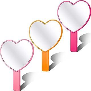 3 件心形手持式镜子旅行化妆镜便携式个人化妆镜带手柄适合女士女孩情人节和化妆家庭沙龙旅行使用
