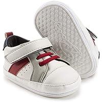 Save Beautiful 女婴帆布运动鞋软底高帮及踝婴儿学步鞋学步鞋 H/White 12-18 Months To…