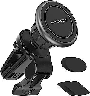 磁性手机车载支架,360° 旋转车载通风磁铁手机支架 [6 个强力磁铁] 适用于汽车 iPhone 12 11 Pro Max XR XS X 8 7 Plus 三星 Galaxy S10 S9 S8 Note 10(1 件装)