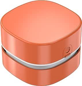 桌面吸尘器,便携式迷你桌面除尘器,节能桌面除尘器,360º 可旋转设计,用于清洁*、办公室、面包屑、电脑键盘、儿童礼品、橙色