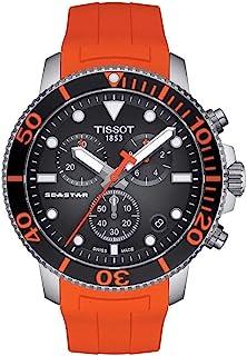 Tissot 天梭 男式 Seastar 660/1000 不锈钢瑞士石英橡胶表带,橙色,22 休闲手表(型号:T1204171705101)