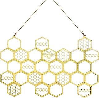 GEZICHTA 悬挂耳环架 蜂窝状耳环收纳架 壁挂耳环展示 木质悬挂珠宝收纳架 适用于耳环、项链(金色)
