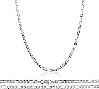 Florence Jewelers 纯银 925 男士意大利 3MM 费加罗链,尺寸 40.64cm - 76.20cm - 意大利制造
