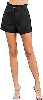 Khanomak 女式卷边纸袋棉质休闲短裤,带 IDE 口袋
