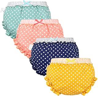女婴 Bloomers 新生儿婴儿幼儿尿布套儿童女孩内裤套装 0-4T 4 件装