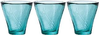 ADERIA 酒器 酒盅 茶杯 90 毫升 津轻玻璃 天开杯 日本酒用 3 个装 耐热玻璃 支持微波炉 日本制造 F49865