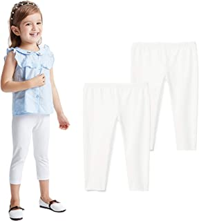 THEE BRON 幼儿/女童棉质七分裤夏季打底裤 Fl-2 件装-白色 2T