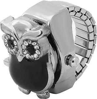 指环手表,翻转盖复古猫头鹰图案 Unixes 手指石英手表模拟戒指手表男士女士(黑色)
