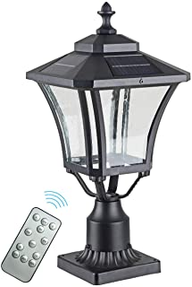 GYDZ 太阳能柱灯户外太阳能灯柱灯,带 3 英寸(约 7.6 厘米)码头安装底座,适用于柱子,哑光黑色铝带透明玻璃,21 英寸(约 53.1 厘米)太阳能柱灯,适用于前门/花园/后院。