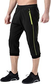 YSENTO 男式 3/4 慢跑七分裤膝盖以下瑜伽短裤健身房训练健身七分裤拉链口袋