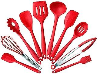 10 件/套硅胶耐热厨房烹饪用具不粘烘焙工具钳钳子女士小工具 BonBon 出品 红色 silicone kitchen set 10 piece