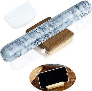 #1 *佳大理石擀面杖 适用于烘焙木质底座,12 英寸(约 30.5 厘米),流线型平滑,易于抓握,底座适用于别针和手机,耐用不粘实心法式别针(灰色和白色),SNUGROM