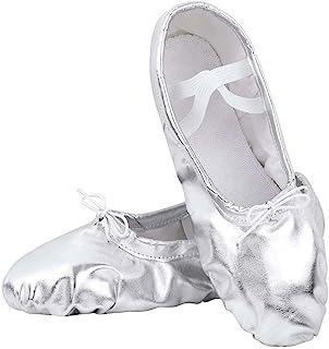 Nexete 芭蕾舞鞋分体式鞋底拖鞋芭蕾舞鞋金色银色适合学步女童女性