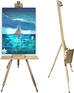 Beipoo 木制三脚架艺术家绘画画架,坚固的 A 形框架和可折叠设计,高度可调 35 至 75 英寸,大型储物托盘,地板画架用于绘画、素描、展示、标志、绘图