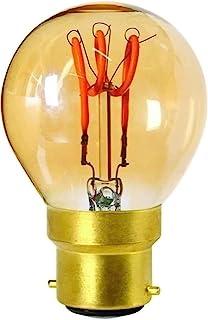Girard Sudron 716635-LED 45mm 高尔夫球 C45 LED 环形灯丝灯泡,B22(BC卡口盖),暖白色,100流明,可调光,3瓦,琥珀色