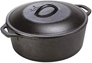 Lodge 荷兰铸铁烤箱,带盖和双环手柄,预调味锅,5夸脱(约4.73升)