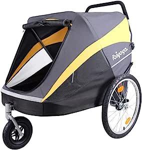 ibiyaya 大型宠物手推车,适用于一个大型或多个中型犬,带有充气轮胎悬架和铝框,包括防雨罩