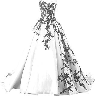 Kivary 哥特式黑色缎面蕾丝 V 领 A 字型长款舞会紧身胸衣婚纱