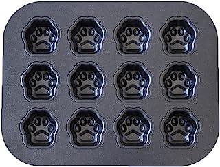 不粘玛德琳平底锅,12 腔小狗爪形甜圈平底锅,不锈钢烘焙模具,适用于烤箱烘焙和制作玛德琳,饼干,果冻,纸杯蛋糕(黑色)