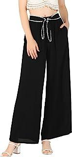 Allegra K 女式松紧腰蕾丝系带裤休闲阔腿长裤