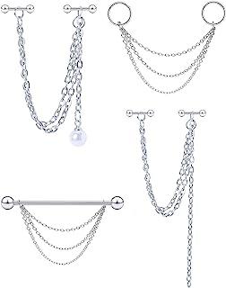 Dyknasz 不锈钢工业耳环带链吊坠工业穿孔珠宝双软骨前螺旋耳环工业杠铃 适合女士男士