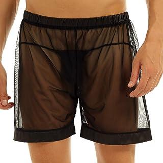 YOOJOO 男式透视网眼宽松休闲平角短裤内裤泳裤
