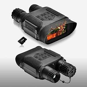 夜视双筒望远镜 1300 英尺/400 米视角范围,带 3.5 – 7 x 31 毫米红外摄像头,4 英寸大屏幕夜视镜,带 32 G TF 卡和照片视频功能,用于狩猎和监控