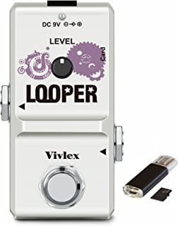 Vivlex LN-332A 循环吉他踏板迷你循环录音,适用于电吉他和低音,带 1GB 存储卡,10 分钟循环,无限的音调