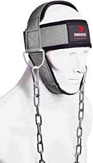 DMoose 健身颈束带适用于阻力训练。 超重 D 形环和钢链,舒适贴合氯丁橡胶,卓越的鞍状缝合。 用耐用锻炼颈带,打造更厚的颈部