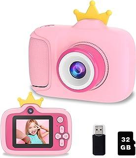 Biliqueen 公主玩具,适合 3-12 岁女孩、儿童自拍相机,适合 3 4 5 6 7 8 9 10 岁 1080P 视频录像机,带 32GB SD 卡(粉色)
