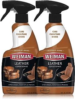 Weiman 皮革清洁剂和护发素 - 16 盎司 - 2 件装 - 用于沙发椅、钱包、鞋子、马鞍皮带、夹克、汽车座椅等