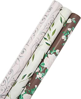 婚礼、花卉和银箔礼品包装纸(76.2 厘米 x 40.64 厘米,3 卷)