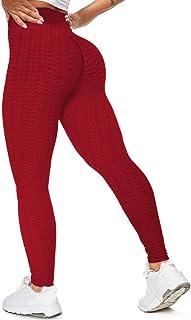 SZKANI 女式褶饰提臀高腰瑜伽裤收腹健身打底裤纹理紧身裤